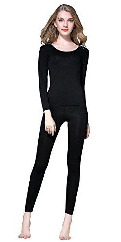 Vinconie Damen Pyjama Set Langarm Base Layer Strech Fitnesshose Elastische