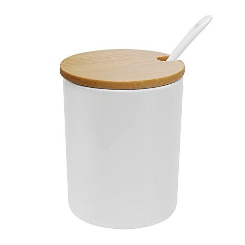 Zuckerdose, 77L Keramik Zuckerdose mit Zucker Löffel und Bambus Deckel für Haus und Küche, Elegantes Design, Weiß, 320 ML (11.3 OZ) (Löffel Organizer Für Die Küche)