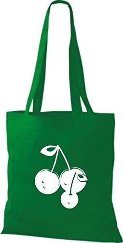 ShirtInStyle Stoffbeutel Baumwolltasche Dein Lieblings Obst und Gemüse Kirsche Farbe Pink kelly