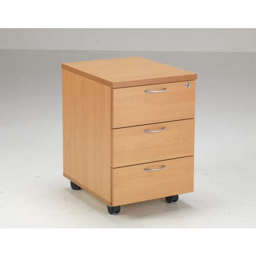 Relax Office 460mm Wooden Filing Cabinet Mobile Pedestal with 3 Drawers Office Storage File Organisers, Lockable in Beech, Maple, Oak, White Or Walnut Finish-(Beech)