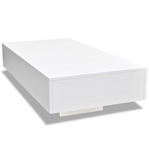 vidaXL Mesa de Centro Fibra Vidrio Blanco Brillante