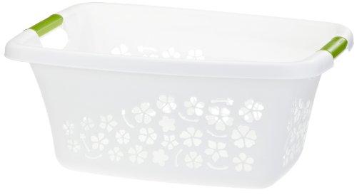 Rotho 1756701100 Panier à linge « Flowers » en plastique (PP) moderne, Plastique, weiss/apfelgrün, M (25 Liter)