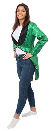 Tanz Kostüm Pailletten Mit - ILOVEFANCYDRESS Damen GRÜN Pailletten SCHWANZMANTEL KOSTÜM KOSTÜM ZUBEHÖR Tanz Show BLASS GRÜN SCHWANZMANTEL Unisex Outfit (SMALL EU 40/42)