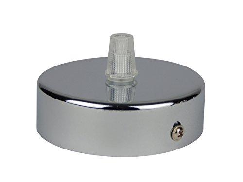Rosone in acciaio inox con finitura cromo, 80x25 mm, completo di fermacavo / nipplo di fissaggio (filetto standard m10) per il montaggio di lampade a soffitto (rosetta a soffitto). Quantità: 1 pezzo