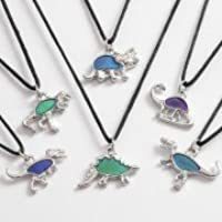Childrens colour changing mood Dino Necklace