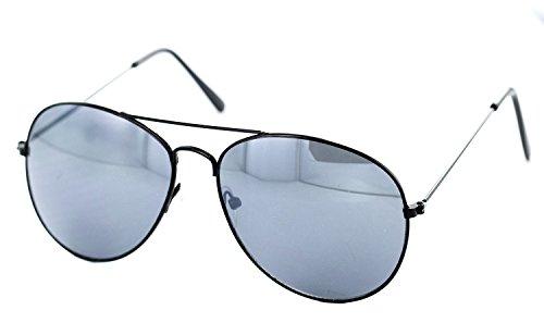 Nick and Ben Piloten-Brille schwarz UV-Schutz 400 ca. 13,5 cm breit Herren Damen Cosplay Trend-Brille Nerd-Brille Geek-Brille
