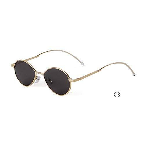 ZRTYJ Sonnenbrille Mode 90er Jahre Oval Skinny Sonnenbrille Männer Frauen Markendesigner Retro Vintage Wire Slim Frame kleine runde Sonnenbrille Shades