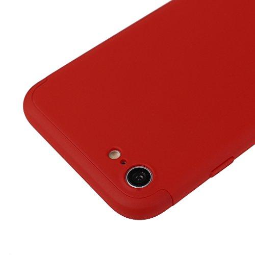Dur Coque Pour iPhone 7, Asnlove PC Hard Cover Intégrale Protection Housse Couleur Pure Mode Cas Ultra Mince Rigide Étui Antichoc Case Pour iPhone 7 - Rose Or Rouge