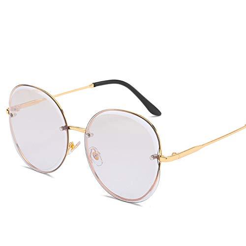 Yangjing-hl Rahmenlose Sonnenbrille Damenmode Sonnenbrille große kiste schnittkante dünnes Gesicht rundes Gesicht Sonnenbrille goldrahmen weißes quecksilber
