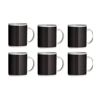 Set of 6 Black Funky Mugs