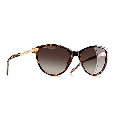 AOFLY Übergröße Mode Polarisierte Katzenbrille Sonnenbrille für frauen Gradientenlinse Metallrahmen Brillenartikel, Leoparden Rahmen/Braun Linse