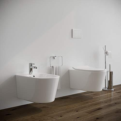 Sanitari bagno filomuro SOSPESI Bidet e Vaso WC in ceramica con sedile coprivaso softclose. Ponsi SURF