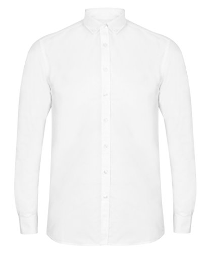 Henbury Mens Modern Langarm Klassisch Regular Fit Formale Oxford Sh - White - MS