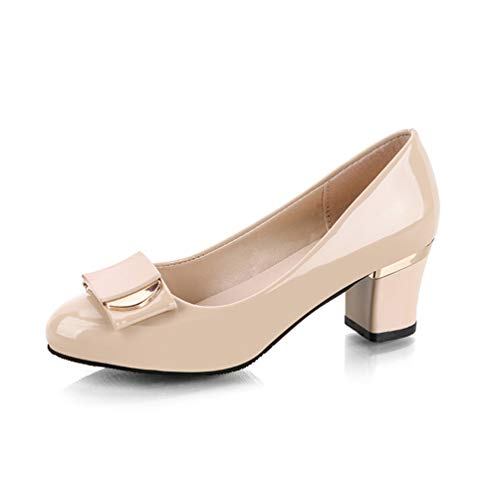 Frau quadratische hochhackige Pumps Büro Lackleder High Heels Slip on Bow Damen Wedges Abendschuhe