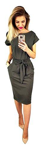 Longwu elegante abito casual a manica corta da donna grigio scuro-xxl