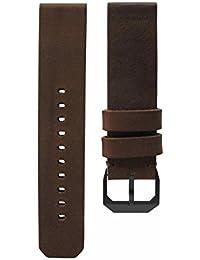 Slow Bracelet de montre en cuir style vintage Marron foncé Boucle noire