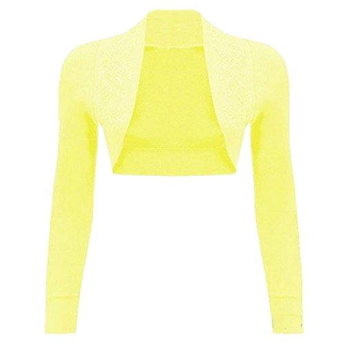 Womens Sequin 100%Cotton Ribbed Top Long Sleeve Knitted Beaded Bolero Shrug Zitrone