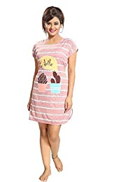 8d68b29f8 MUKHAKSH Girl s Women s Ladies Hosiery Short Cartoon Print Nighty Night  Wear Lounge