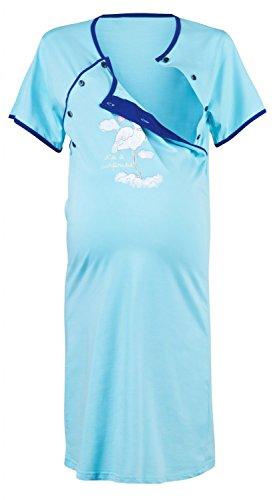 Happy Mama Donna vestaglia camicia notte set prémaman allattamento. 126p (Azzurro, IT (3 4 Camice Lunghezza)