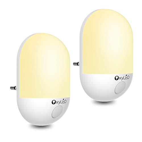Luce notturna a led,lampada da notte a led oxyle bambino con sensore crepuscolare luce bimbo automatica a risparmio energetico per camera da letto,bagno,corridoio,bianco caldo,2 confezioni