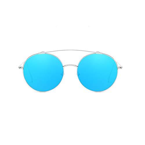 AmDxD Damen Polarisierte Sonnenbrille | Sonnenbrille Vollrand Mode Brille UV400 Schutz | Für Festival, Farradfahren, Fischen - Blau Silber
