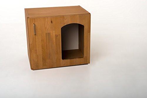 """Indoor Hundehütte """"Lucky-Deluxe"""" Hundebett mit Liegekissen Schlafplatz Buche Echtholzfurnier B / H / T 60 x 53,5 x 41 cm"""