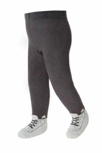 Baby Strumpfhosen im Schuh-Design für Jungen - weiche Baumwolle & Anti-Rutsch-Sohlen - 6-12 Monate (Grau)