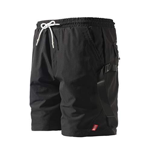 Cargo Shorts Herren Chino Kurze Hose Sommer Bermuda Sport Jogging Training Stretch Shorts Fitness Vintage Regular Fit Sweatpants Baumwolle Qmber Einfarbige Shorts mit Knopfleiste Overall(Black,M)