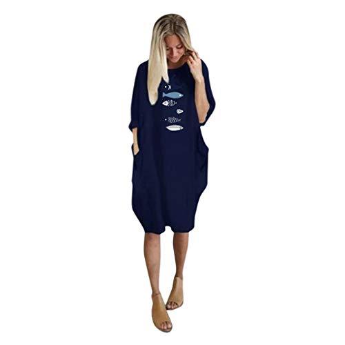 SHE.White Damen T Shirt-Kleid Sweatshirt Casual Lang Druck Pullover mit Seitentaschen Loose Crew Neck Tops Langarm Langarmshirts Tunika Tops S-5XL -