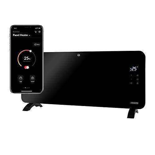 Princess 01.342000.01.001 Calefactor con panel de cristal Smart, controlado por app, 2000 W, negro
