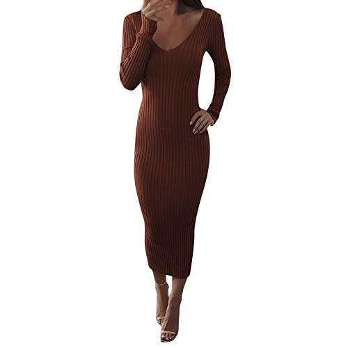 Robe tricotée, GreatestPAK Manches Longues Femmes col en V Profond Jupe Dames Occasionnels Crayon Mince Pull Maxi Robes Longues