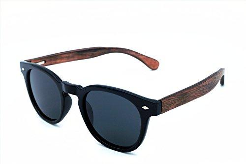 Vagance polarisierte Holz Sonnenbrille mit Echtholz Bügeln und tollem Bambus Case (Schwarz)