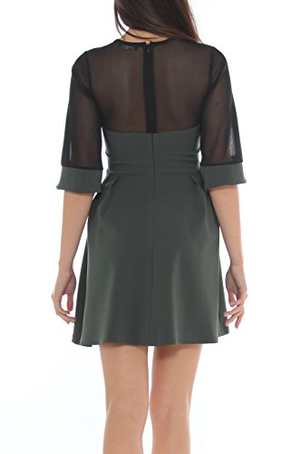 Vestito bon-ton in jersey stretch e tulle Verde