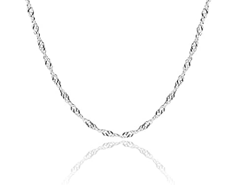 1mm thick solid sterling silver 925 stamped Italian SINGAPORE ROPE twisted curb link chain necklace chocker bracelet anklet with spring ring clasp jewellery jewelry - inch