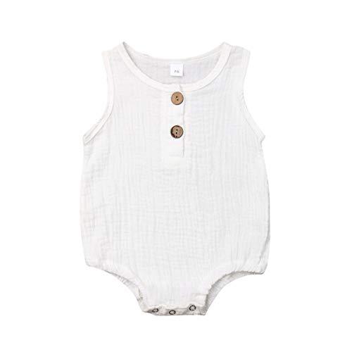 enes Unisex Baby Jungen Mädchen Strampler Sommer Ärmellos Bodys mit Knöpfe Achselbody in Unifarben für Baby 0-2 Jahre ()