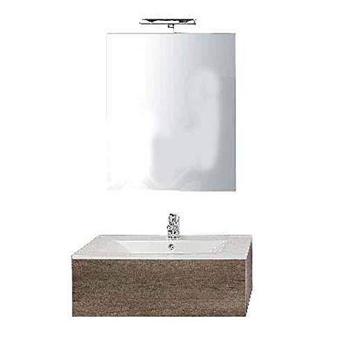 Meuble salle de bain suspendu de 80 modèle modulable orme naturel