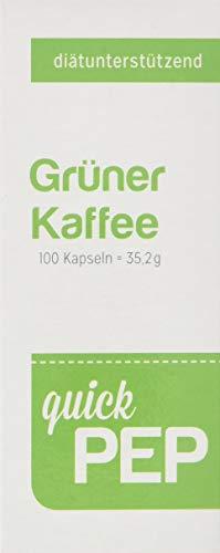 quickPep Grüner Kaffee Kapseln I Hochdosierter Grüner Kaffee Extrakt I Green Coffee Bean extract Kapseln zum Abnehmen I natürlicher Grüner Kaffee zum Abnehmen I Hergestellt in Deutschland I 100 Stück