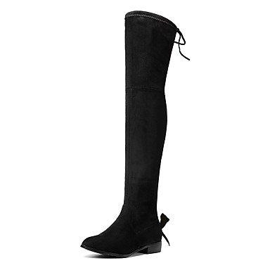 Wuyulunbi @ Femmes Chaussures Automne Hiver Mode Bottes Bottes Serrure Talon Bout Rond Genou Bottes Bow Tie Partie Dentelle Us8.5 / Eu39 / Uk6.5 / Cn40