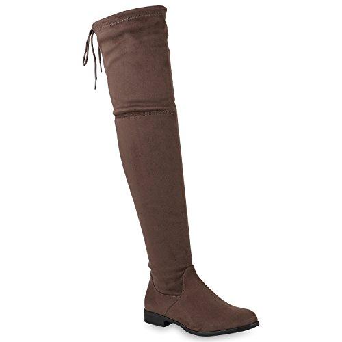 Damen Schuhe Overknees Leicht Gefütterte Stiefel Wildleder-Optik 146674 Khaki 39 Flandell