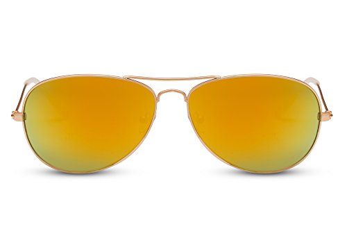 Cheapass Piloten-Sonnenbrille Gold-en Verspiegelt UV-400 Flieger-Brille Pilot Fliegen Metall-Rahmen Damen Herren