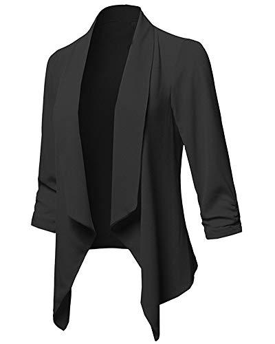 ZhuikunA Giacche Elastiche Donna, Taglie Forti, Casual, Classic Blazer, Giacca da Lavoro Nero 4XL