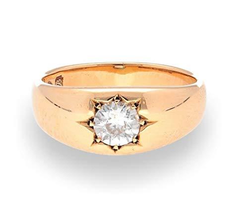 Antiker 1902 Siegelring 18 Karat Gelbgold 0,80 Karat Diamant Größe R 6 mm Kopf