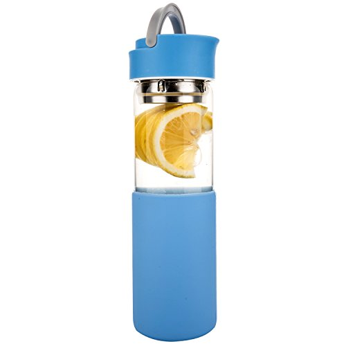Blau Glas-trinkflasche (Life4u Trinkflasche Glas,Borosilikatglas Wasser Flasche mit Silikon Sleeve & Abnehmbare Sieb, 510 ml,Himmelblau)