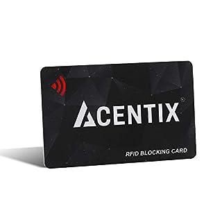 ACENTIX RFID/NFC Signal Blocker, Kredit-/Debitkartenschutz für Ihren Geldbeutel oder Brieftasche | Keine Batterien erforderlich, keine umständliche Tasche - Schwarz