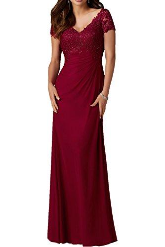 Milano Bride Elegant Blau Weinrot Spitze Chiffon Abendkleider Partykleider Promkleider Lang A-linie Rock Bodenlang Royal Weinrot