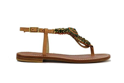GIALLO POSITANO AH579 sandali donna 35 EU pelle stass beige verde