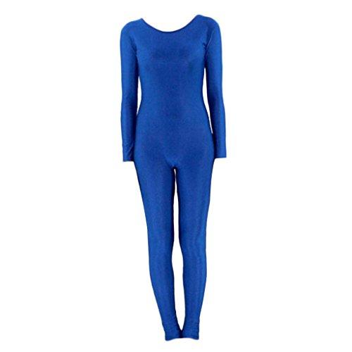 Kostüm Ganzkörper Tragen - Baoblaze Damen Ganzkörper Anzug Kostüm Zentai Jumpsuit Spandex Body Catsuit Overall Einteiler Tanzkleidung Fasching Karneval - blau m
