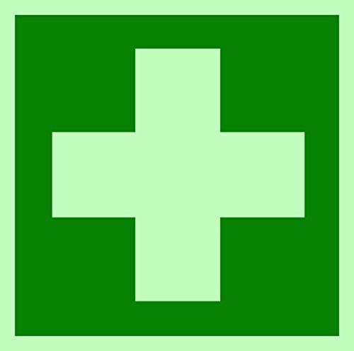 Rettungszeichen Symbolschild Erste Hilfe DIN Folie nachleuchtend &. selbstklebend 100x100mm