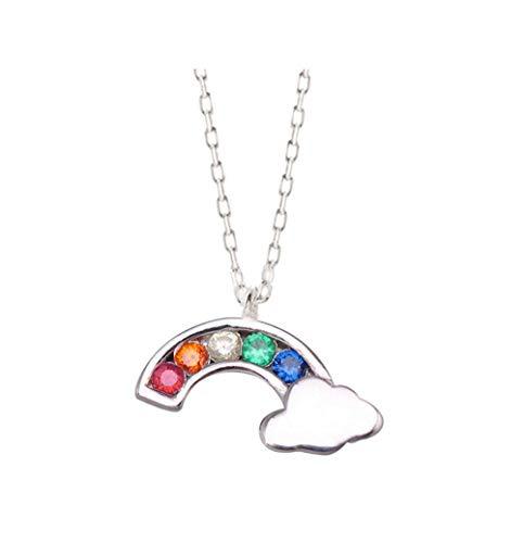 Silber Kinder-jeans (AMAYA Ohrringe 925 Sterling Silber Damen Mädchen Kinder-Kette Regenbogen Rainbow - Anhänger verarbeitet mit AAA Zirkonia Kristallen Steine - Edelstahl Allergiefrei Nickelfrei - weiß, rosa, bunt,)