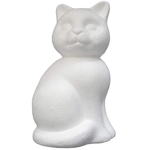 -Katze ca. 24 cm groß Styropor Tiere zum basteln | dekorieren | malen | filzen Dekoration | Dekofigur | Katze Styropor-Figur | 183902 ()